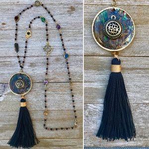 Black Rainbow tassel necklace